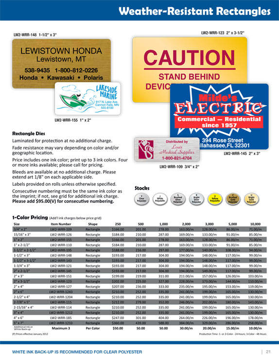 weather resistant labels, water resistant labels