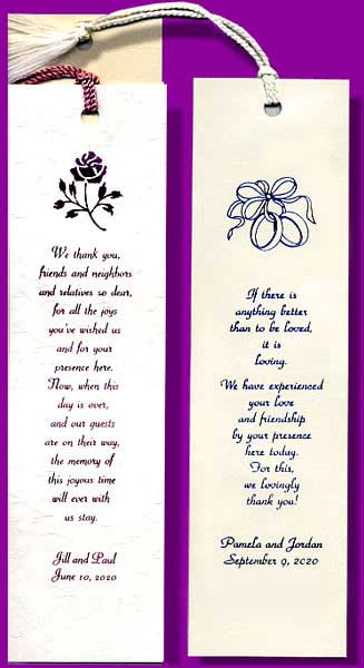 Wedding Bookmarks, Wedding Bookmark Favors